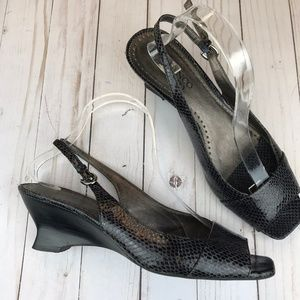Franco Sarto | Faux Snake Skin Open Toe Wedge Shoe